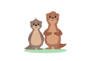 Baby Sea Otters on Land Animals Craft Cut File By Creative Fabrica Crafts