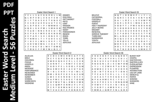 56 Easter Word Search Puzzles – Medium Graphic KDP Interiors By Oxyp