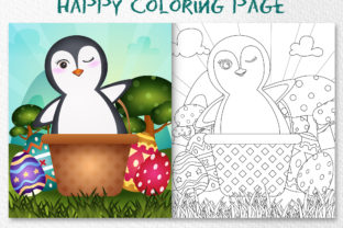 A Cute Penguin - Coloring Page Graphic Coloring Pages & Books Kids By wijayariko