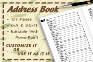 A-Z Address Book Interior 107 Pages Graphic KDP Interiors By TheDigitalAxolotl