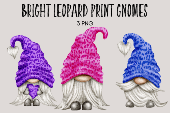 Print on Demand: Bright Leopard Print Gnomes Graphic Illustrations By Celebrately Graphics