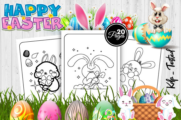 Print on Demand: Cute Easter Coloring Pages for Kids Graphic Coloring Pages & Books Kids By Trend Color