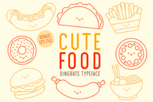 Print on Demand: Cute Food Dingbats Font By Kelik - 7NTypes