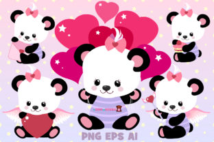 Print on Demand: Cute Panda Set Graphic Illustrations By ladymishka