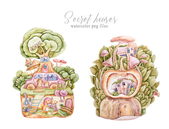 Print on Demand: Fairy Garden Woodland House Clipart Graphic Illustrations By Tiana Geo