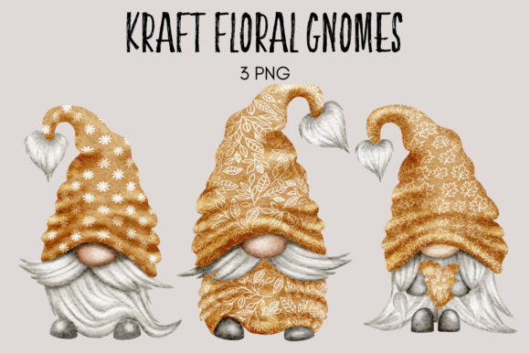 Print on Demand: Floral Kraft Boho Gnomes Graphic Illustrations By Celebrately Graphics