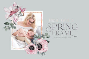 Print on Demand: Floral Rose Gold Rectangular Frame PNG Graphic Illustrations By Busy May Studio