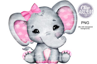 Print on Demand: Girl Elephant with Pink Bow PNG Images Graphic Illustrations By clipArtem