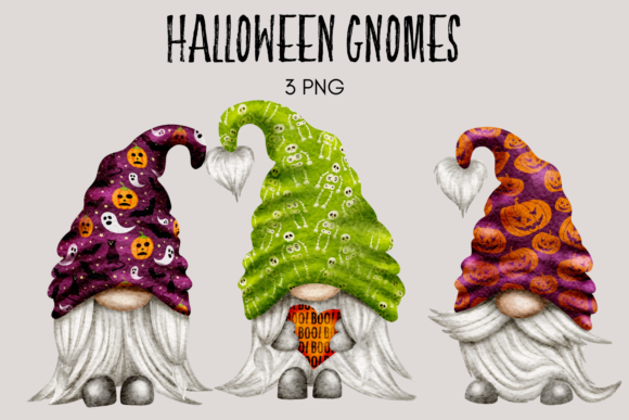 Print on Demand: Halloween Gnome Clipart Graphic Illustrations By Celebrately Graphics