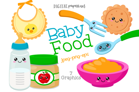 Print on Demand: Kawaii Baby Food Clipart Graphic Illustrations By DigitalPapers