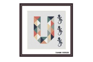 Print on Demand: Letter V and Lizard Nursery Cross Stitch Graphic Cross Stitch Patterns By Tango Stitch
