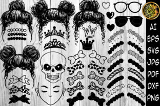 Print on Demand: Clipart de Pequeña Princesa Messy Space Bun Gráfico Ilustraciones Por V-Design Creator