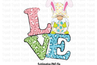 Print on Demand: Love Gnome Bunny Easter Sublimation Graphic Illustrations By TripleBcraft