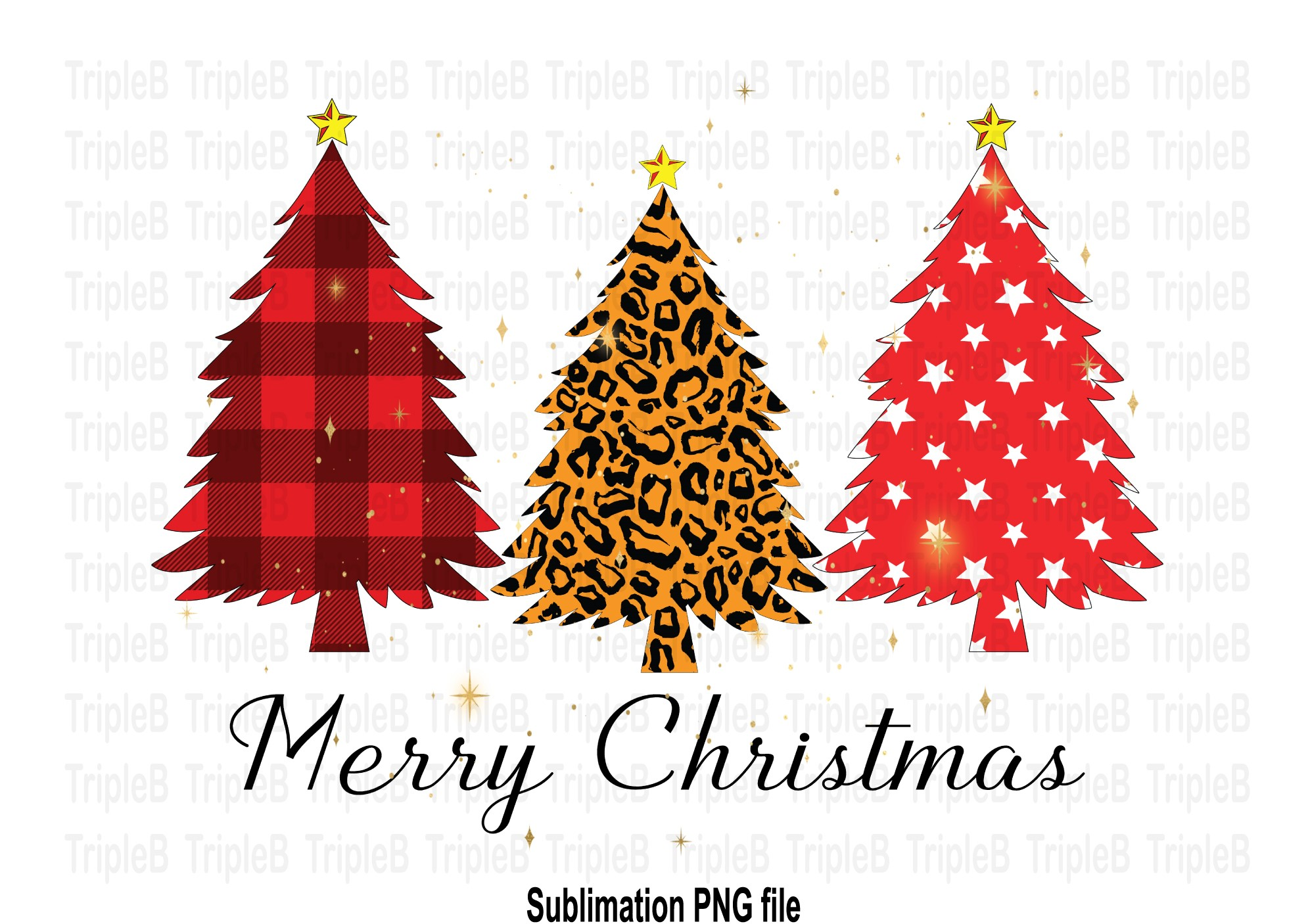 Merry Christmas Tree Sublimation Designs SVG File