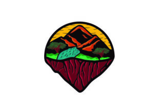 Mountain and River Graphic Illustrations By Mubarak Studio