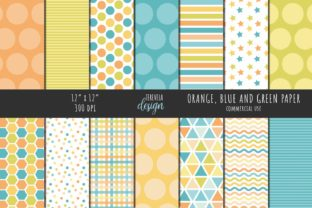 ORANGE, BLUE and GREEN PATTERN Graphic Patterns By TereVela Design