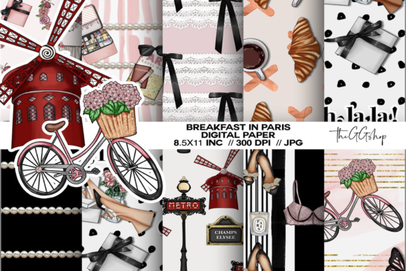 Print on Demand: Paris Fashion Spring Papers Graphic Print Templates By TheGGShop