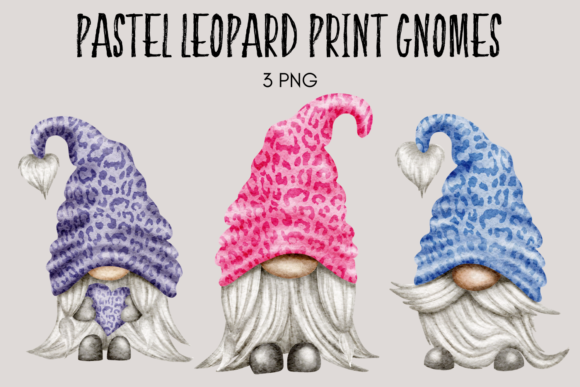 Print on Demand: Pastel Leopard Print Gnomes Graphic Illustrations By Celebrately Graphics