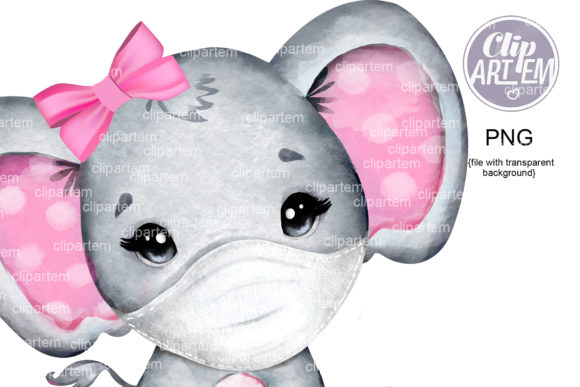 Print on Demand: Pink Elephant Mask Watercolor PNG Images Graphic Illustrations By clipArtem