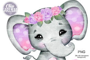 Print on Demand: Purple Pink Roses Elephant PNG Calip Art Graphic Illustrations By clipArtem