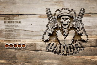 Print on Demand: Skull Cowboy Bands Silhouette SVG Logo Graphic Crafts By artgrarisstudio