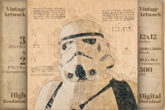 Print on Demand: Storm Trooper Star Wars Mandalorian Art Graphic Illustrations By Vintage 12by12