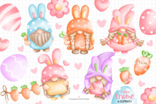 Print on Demand: Watercolor Easter Gnomes Clipart Bundle Graphic Illustrations By Chonnieartwork