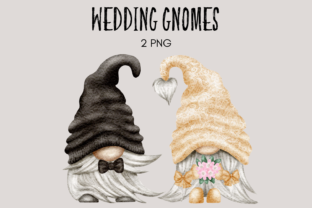 Print on Demand: Wedding Bride and Groom Gnomes Grafik Illustrationen von Celebrately Graphics