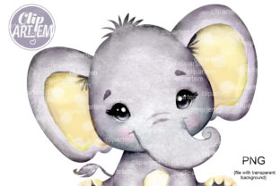 Print on Demand: Yellow Elephant PNG Images, Boy or Girl Graphic Illustrations By clipArtem