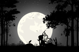 Print on Demand: Cute Fairy and Mouse Silhouette Graphic Illustrations By curutdesign