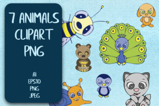 7 Colored Animals Clipart PNG. Graphic Illustrations By Irisidia