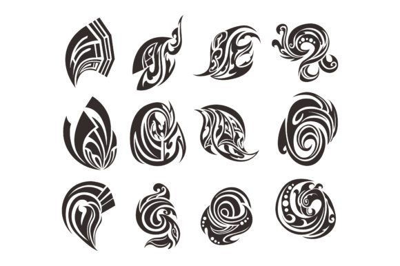 Print on Demand: Abstract Tribal Tattoo Vector Bundle Gráfico Crafts Por Arief Sapta Adjie