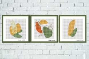 Print on Demand: Abstract Plant Cross Stitch 3 Pcs Set Graphic Cross Stitch Patterns By Tango Stitch