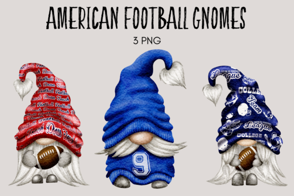 Print on Demand: American Football Gnomes Clipart Graphic Illustrations By Celebrately Graphics