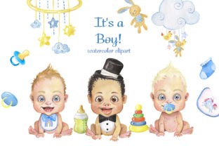 Baby Boy Shower Clipart, Little Boy PNG Graphic Add-ons By EvArtPrint