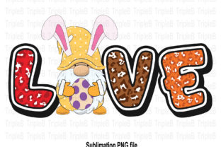 Print on Demand: Bunny Easter Love Gnome Sublimation Graphic Illustrations By TripleBcraft