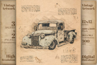 Print on Demand: Chevrolet Retro Classic Car Graphic Illustrations By Vintage 12by12