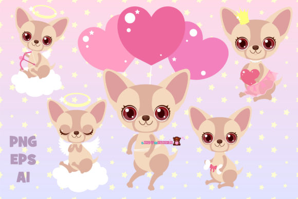 Print on Demand: Chihuahua Baby Set Graphic Illustrations By ladymishka