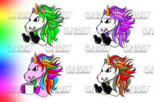 Cool Unicorns Designs Bundle 4 Png Files Graphic Illustrations By Fundesings
