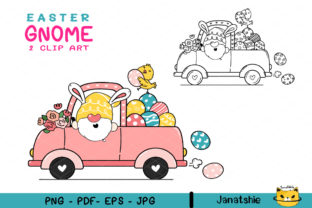 Cute Bunny Easter Gnome Clipart Outline Graphic Illustrations By Janatshie