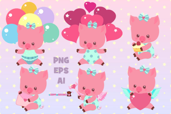 Print on Demand: Cute Little Pig Set Graphic Illustrations By ladymishka