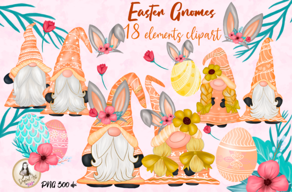 Print on Demand: Easter Gnomes Cute Clipart Graphic Illustrations By Suda Digital Art