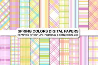 Easter Spring Plaid Digital Papers Pack Graphic Backgrounds By bestgraphicsonline