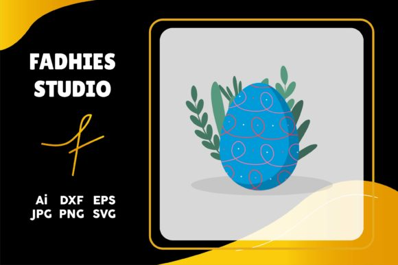 Eater Egg Blue Floral Graphic Illustrations By fadhiesstudio