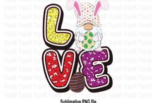 Print on Demand: Gnome Love Bunny Easter Sublimation Graphic Illustrations By TripleBcraft