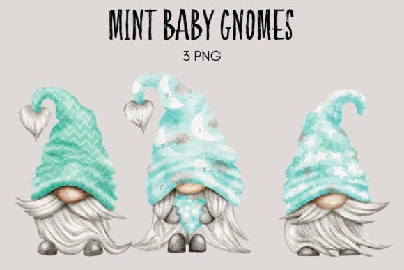 Print on Demand: Clipart de Gnomos de Baby Shower de Menta Gráfico Ilustraciones Por Celebrately Graphics