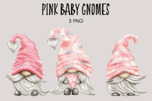 Print on Demand: Pink Baby Shower Gnome Clipart Grafik Illustrationen von Celebrately Graphics
