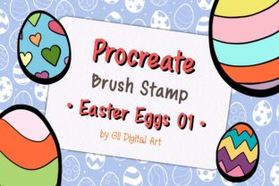 Print on Demand: Procreate Brush Stamp | Easter Eggs 01 Graphic Brushes By 18 Curo caT