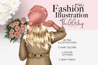 Print on Demand: Spring Fashion Girl Clipart  Png Set Graphic Illustrations By TheGGShop