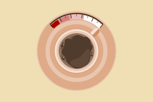 Top View a Cup of Coffee As Fuel Level Graphic Illustrations By faqeeh